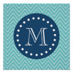 Navy Blue, Teal Chevron Pattern | Your Monogram Poster