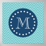 Navy Blue, Teal Chevron Pattern | Your Monogram Poster