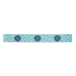 Navy Blue, Teal Chevron Pattern | Your Monogram Satin Ribbon