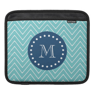 Navy Blue, Teal Chevron Pattern | Your Monogram Sleeve For iPads