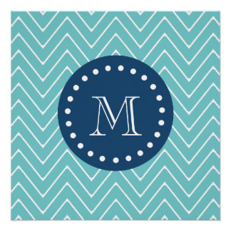 Navy Blue, Teal Chevron Pattern | Your Monogram Perfect Poster