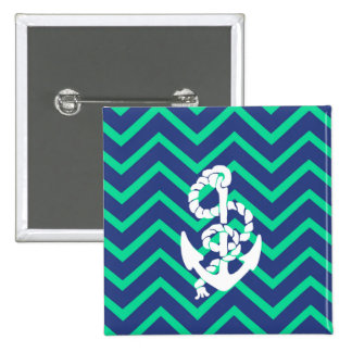 Navy Blue & Teal Chevrons White Anchor Nautical 2 Inch Square Button