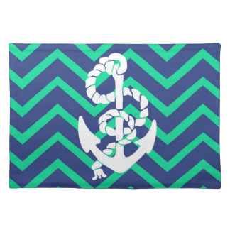 Navy Blue & Teal Chevrons White Anchor Nautical Cloth Placemat