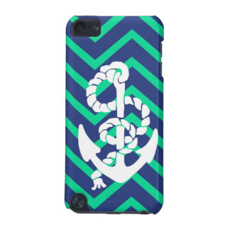 Navy Blue & Teal Chevrons White Anchor Nautical iPod Touch 5G Case