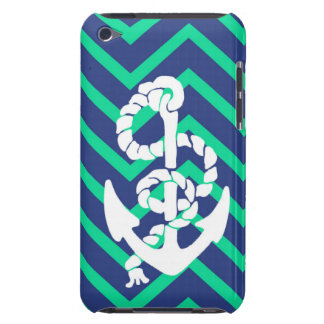 Navy Blue & Teal Chevrons White Anchor Nautical iPod Touch Case-Mate Case