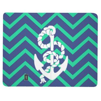 Navy Blue & Teal Chevrons White Anchor Nautical Journal