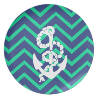 Navy Blue & Teal Chevrons White Anchor Nautical Melamine Plate