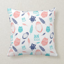 Navy Blue Teal Coral Owls Illustration Pillow