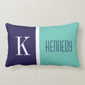 Navy Blue Teal Green Color Block Stripe Monogram Lumbar Pillow