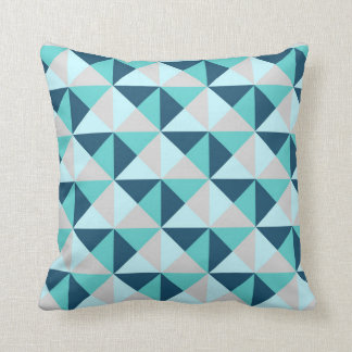 navy blue teal grey geometric triangles pillow
