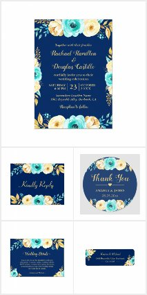 Navy Blue Teal Mint Gold Floral Invitation Suite