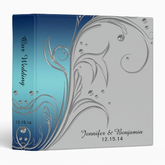 Navy Blue Teal Ombre Gray Silver Scrolls Album Binder