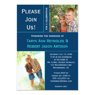 Navy Blue Teal Photo Block Post Wedding Invitation