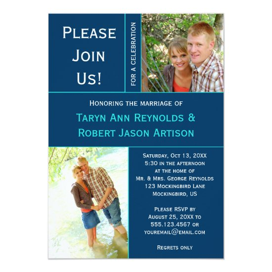 Navy Blue Teal Photo Block Post Wedding Invitation