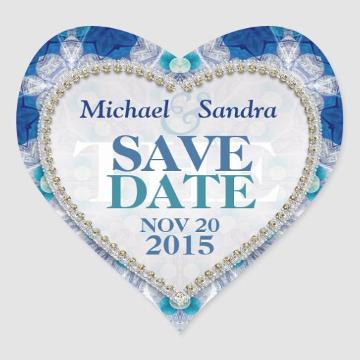 Navy Blue + Teal Save the Date Sticker