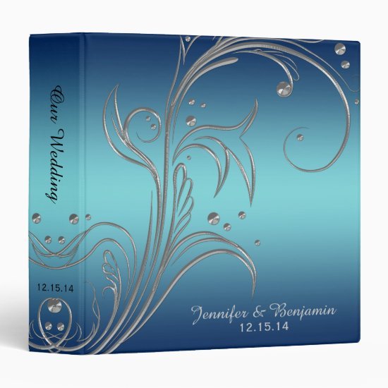 Navy Blue Teal Silver Floral Scrolls Album Binder