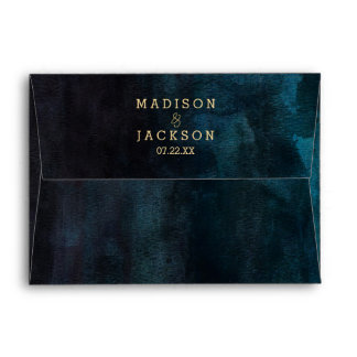 Navy Blue Teal Watercolor & Gold Wedding Monogram Envelope