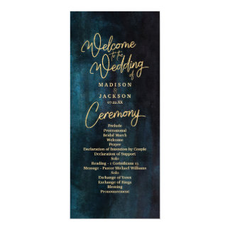 Navy Blue & Teal Watercolor Gold Wedding Program