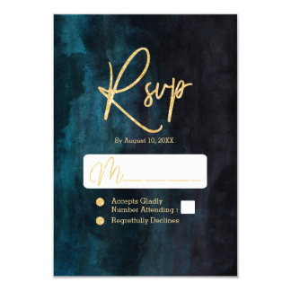 Navy Blue & Teal Watercolor & Gold Wedding RSVP Card