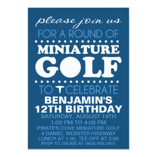Navy Blue Tee Time Miniature Golf Birthday Party Card