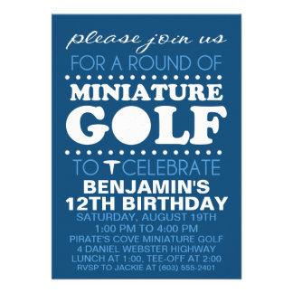 Navy Blue Tee Time Miniature Golf Birthday Party Custom Announcements