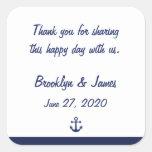 Navy Blue Thank You Nautical Wedding Stickers Sticker