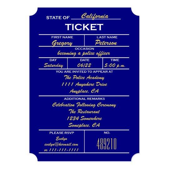 Fabulous Navy Blue Ticket Police Graduation Invitations   Zazzle.com UB66