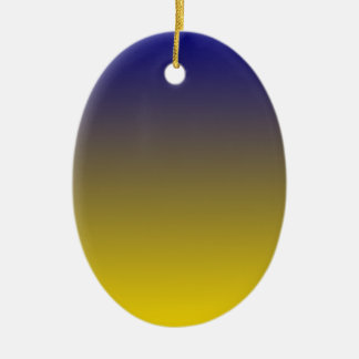 Navy Blue to Golden Yellow Horizontal Gradient Double-Sided Oval Ceramic Christmas Ornament
