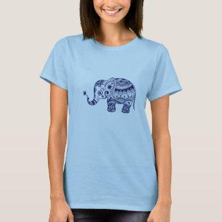 Navy Blue Tones Cute Flower Elephant T-Shirt