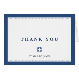 Navy blue traditional border simply thank you note greeting card