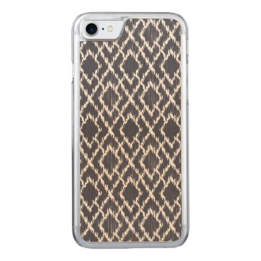 Aztec Themed Navy Blue Tribal Print Ikat Geo Diamond Pattern Carved iPhone 8/7 Case