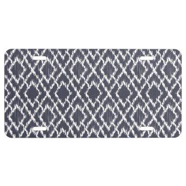 Aztec Themed Navy Blue Tribal Print Ikat Geo Diamond Pattern License Plate
