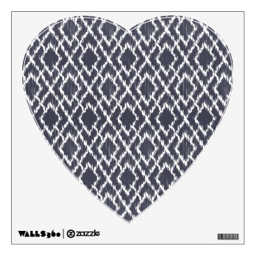 Aztec Themed Navy Blue Tribal Print Ikat Geo Diamond Pattern Wall Decal