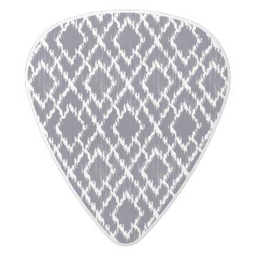Aztec Themed Navy Blue Tribal Print Ikat Geo Diamond Pattern White Delrin Guitar Pick