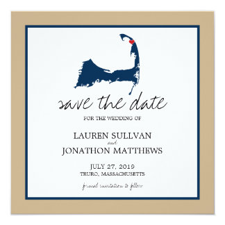 Navy Blue Truro Cape Cod Wedding Save the Date Card