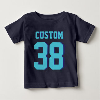 Navy Blue & Turquoise Baby | Sports Jersey Design Baby T-Shirt