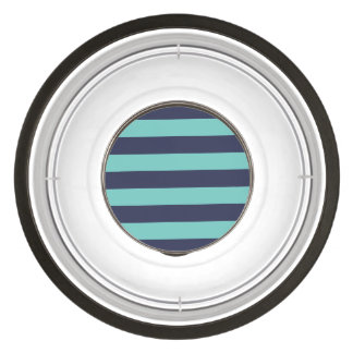 Navy Blue Turquoise Rugby Stripes Bowl