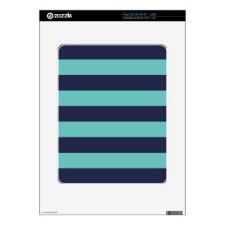 Navy Blue Turquoise Stripes Decal For iPad