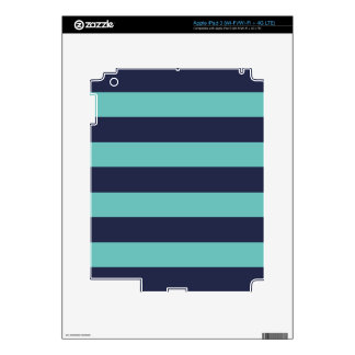 Navy Blue Turquoise Stripes iPad 3 Decals