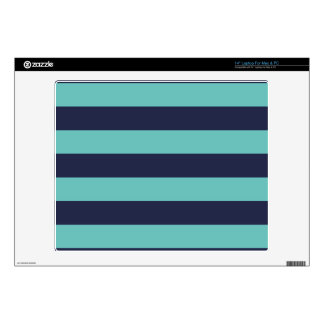 Navy Blue Turquoise Stripes Laptop Decal