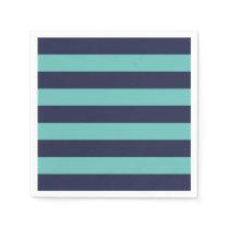 Navy Blue Turquoise Stripes Paper Napkin
