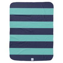 Navy Blue Turquoise Stripes Stroller Blanket