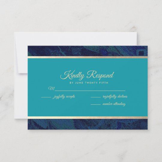 Navy Blue Turquoise Wedding Rsvp Cards
