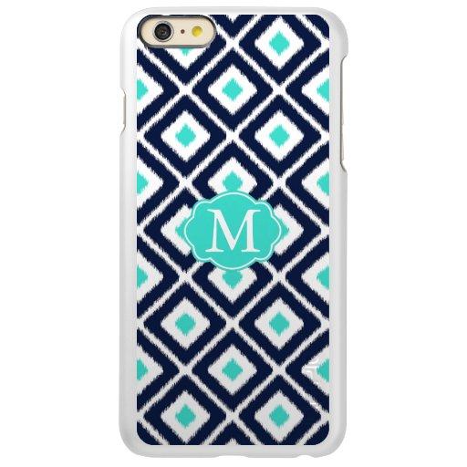 Navy Blue, Turquoise, White Ikat Diamond Incipio Feather Shine iPhone 6 Plus Case