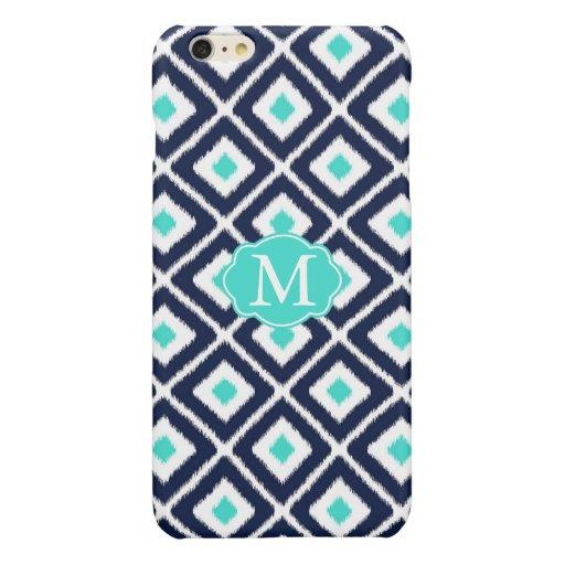 Navy Blue, Turquoise, White Ikat Diamond Glossy iPhone 6 Plus Case