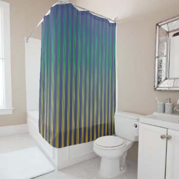 Beach Themed Navy Blue, Turquoise, Yellow (gradient) Stripes Shower Curtain