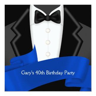 Navy Blue Tuxedo Mans 40th Birthday Party Card