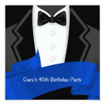 "Navy Blue Tuxedo Mans 40th Birthday Party 5.25"" Square Invitation Card"