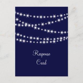 Navy Blue Twinkle Lights RSVP Postcards