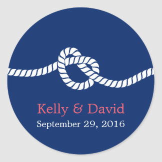 Navy Blue Tying the Knot Nautical Wedding Favor Classic Round Sticker